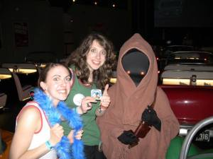 My sister and I show off the results of our Jawa trades.